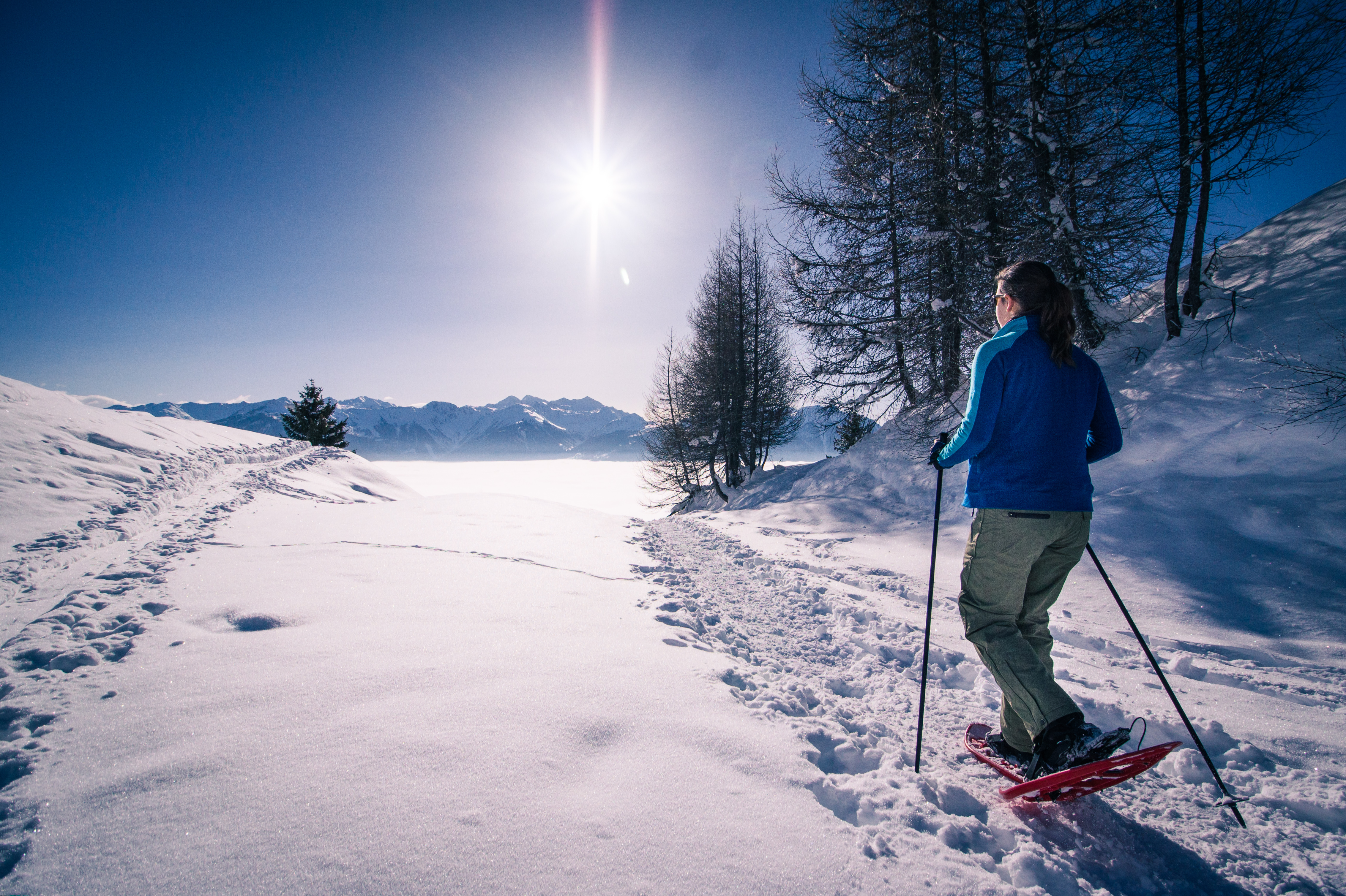 on snowshoes